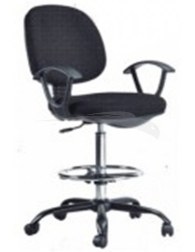 Chaise Haute En Tissu Noir Sans Accoudoirs